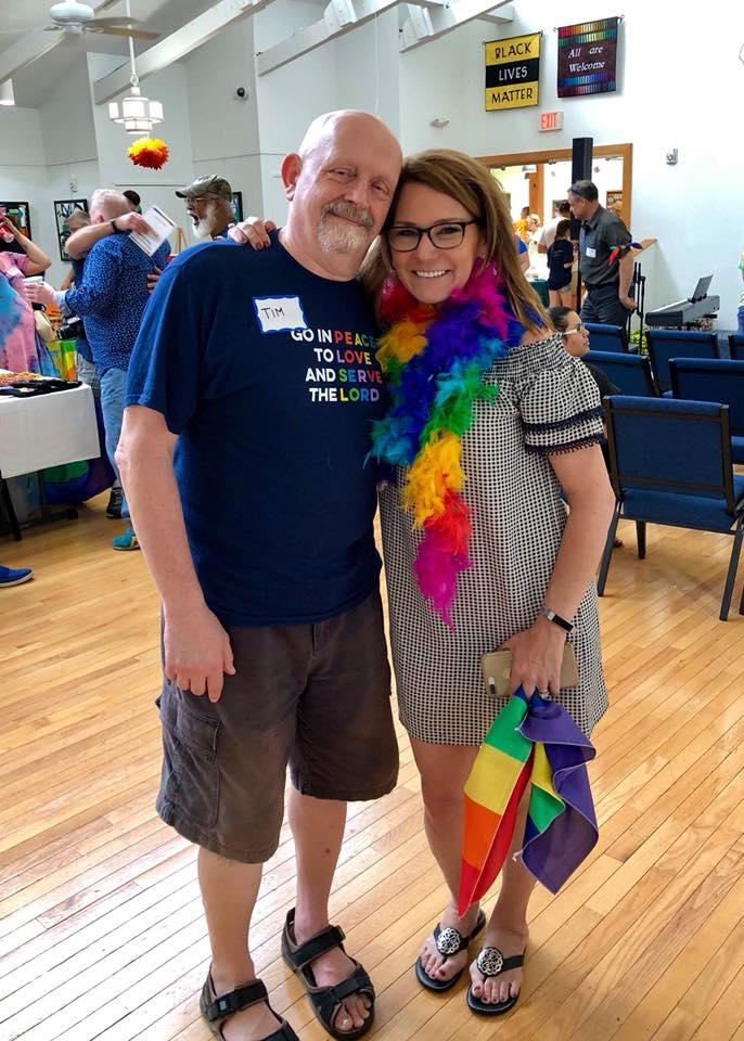 Mayor Merkel and Tim, a member of the Reston Pride Committee.