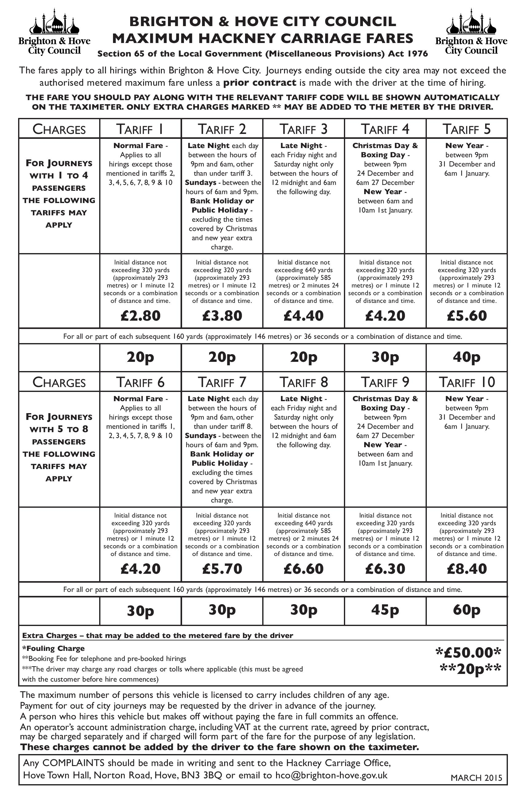 BRIGHTON TAXI TARIFF CARD