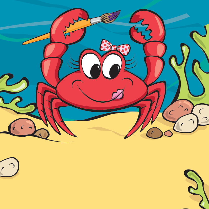 Coco Crab - Habitat: Under BoldersOrigin: CornwallLikes: Art, she has lots of arms to paint withSwim Speed: 4MPHFind out more about Coco Crab