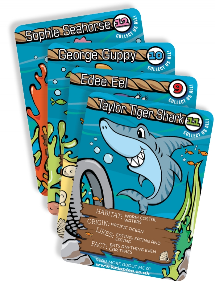 We are launching four new Krispies Fishy Friends cards making it 12 to collect in total
