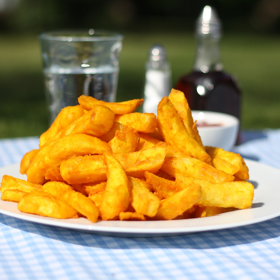 All the spuds we use to make our award winning chips are grown in Britian