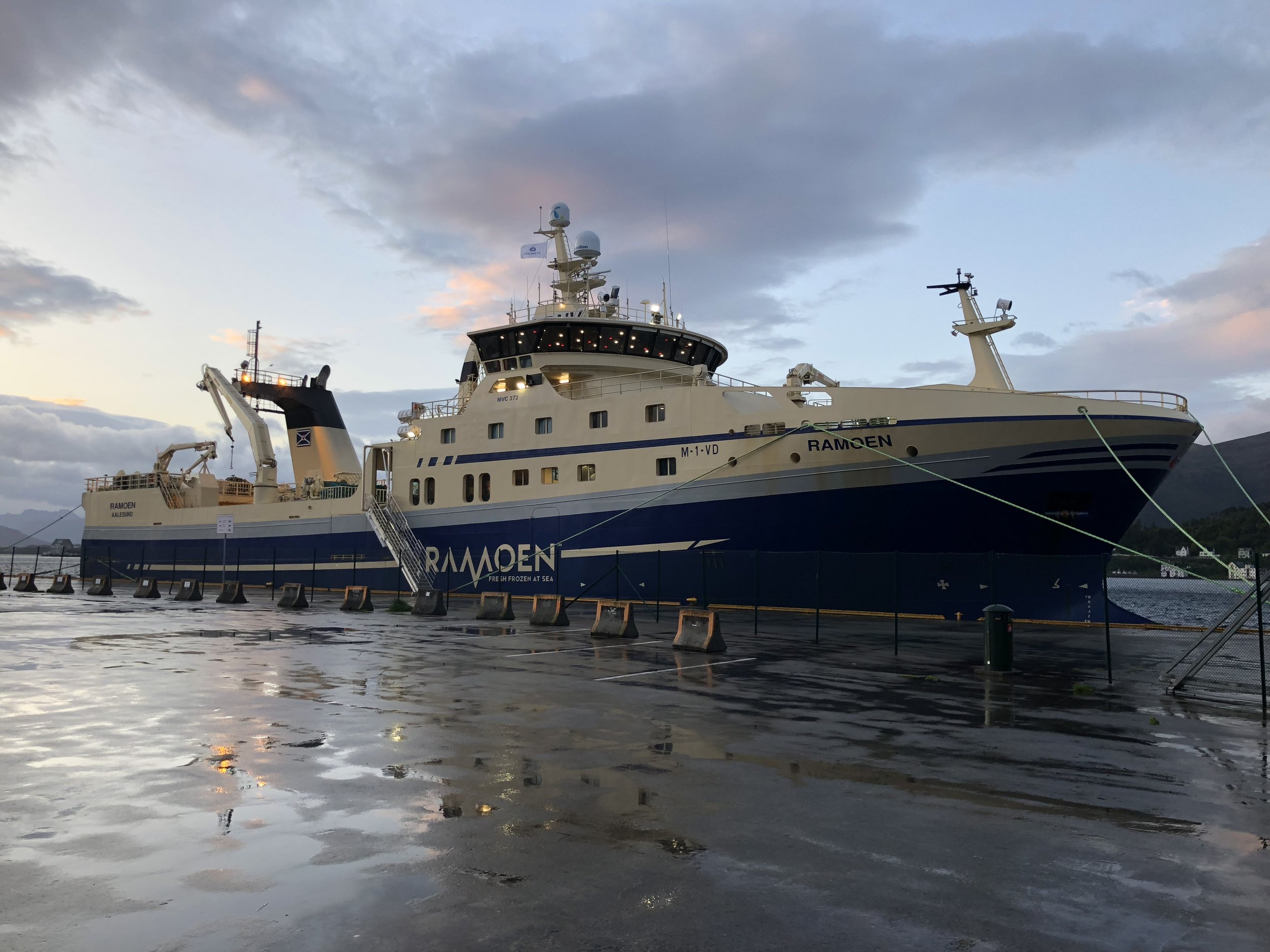Ramoen is the size of a small cruise ship and goes to sea for up to 5 weeks at a time.