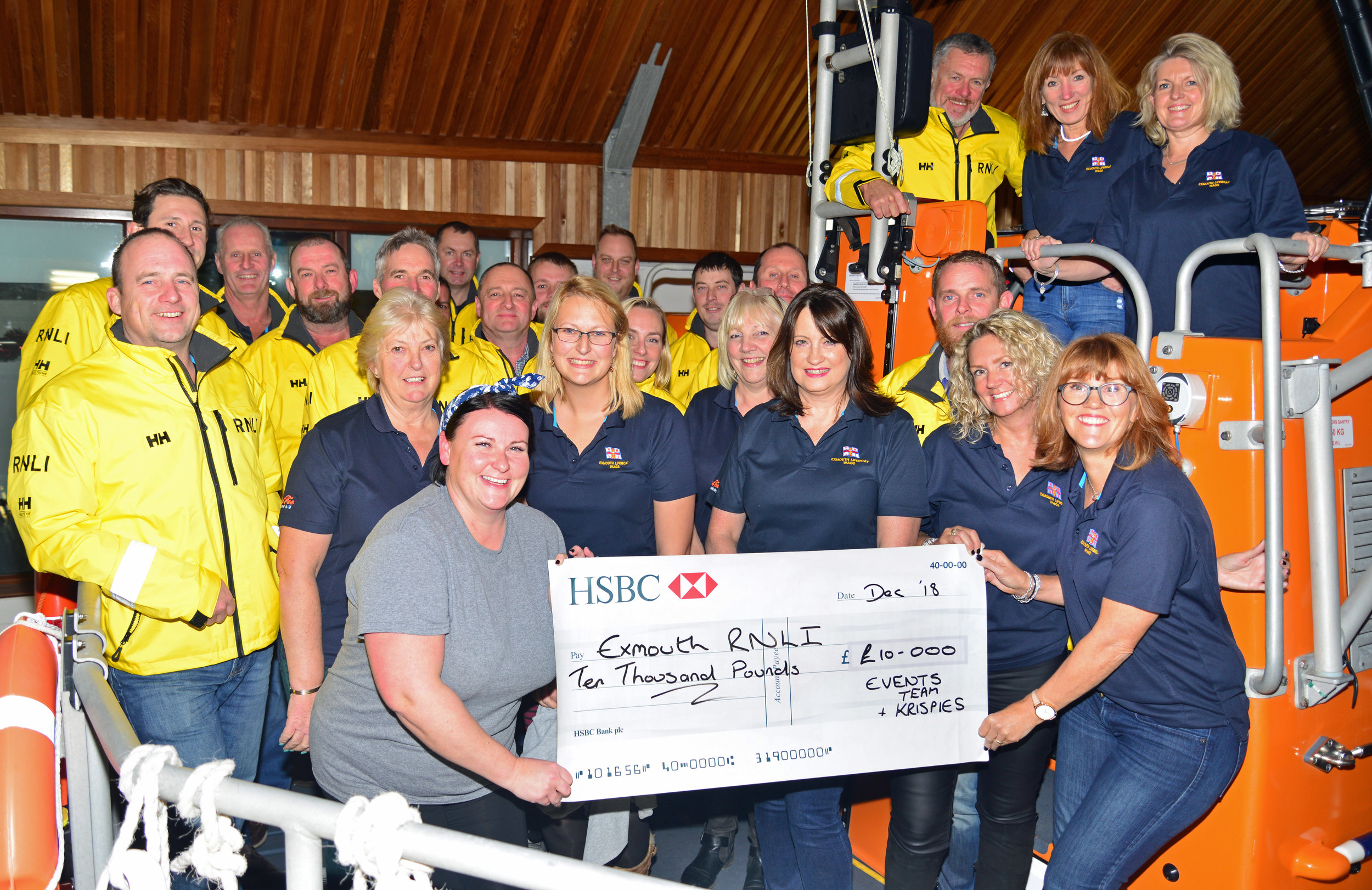 We were delighted to hand over a cheque to Exmouth RNLI for the £10,000 raised at the Fish & Chip Ball in September 2018.