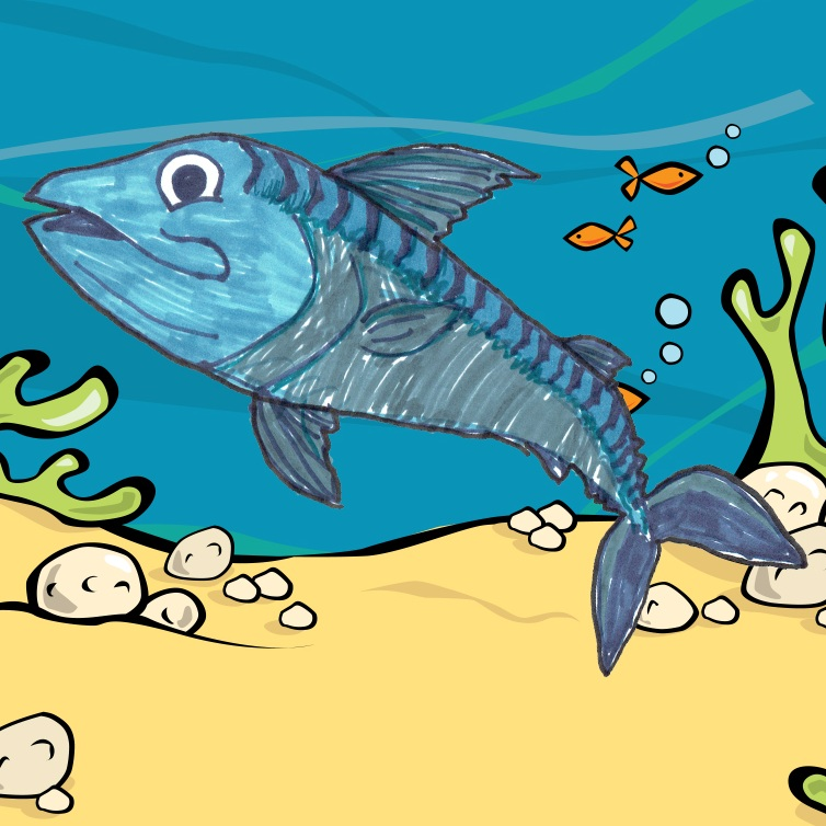 Mickey Mackerel - Habitat: Anywhere, Mickey is not a fussy fishOrigin: Exmouth MarinaLikes: hanging out with a big group of buddiesFact: Mickey's fins retract so he can swim super fastColour in Mickey Mackerel