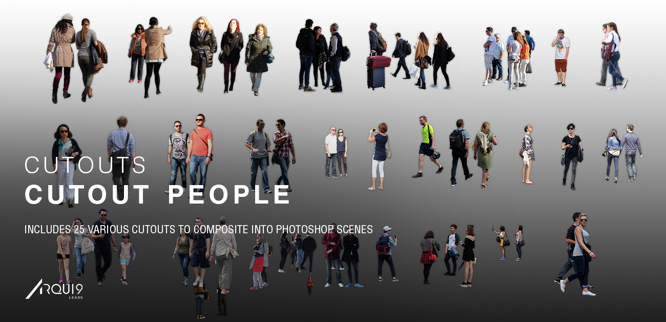The very latest People Cutout Photopacks brings you 25 Original High Res People Cutouts to use in your everyday visualisations. Don't forget to also check out our tutorial on  inserting these assets
