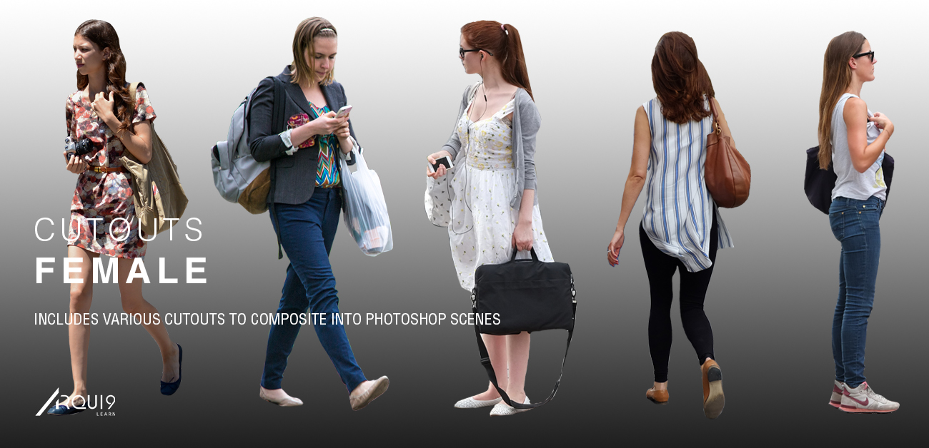 A selection of Female cutouts. Walking, standing and sitting, all perfect for your own Architectural Visualisation images. These cutouts are all high resolution and are downloadable by using the 'download' button below.