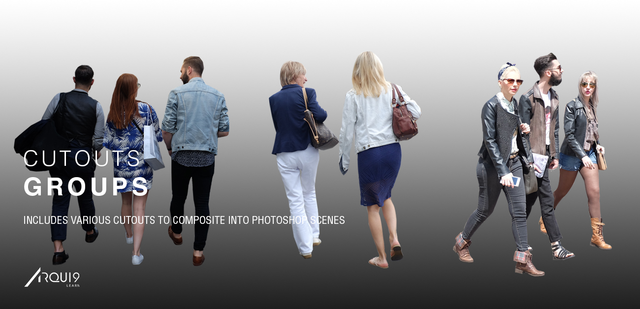 A selection of Group cutouts - Male and Female. Walking, standing and talking, all perfect for your own Architectural Visualisation images. These cutouts are all high resolution and are downloadable by using the 'download' button below.