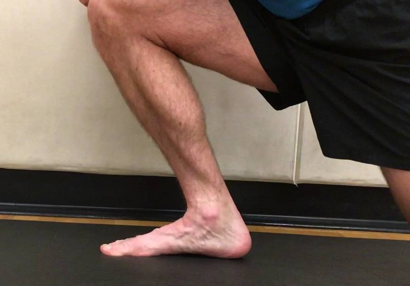 In this version, the foot is on the ground and the lower leg (tibia) shifts forward over the foot.