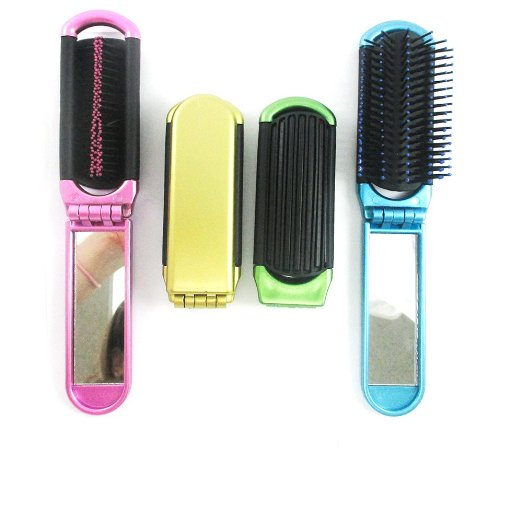 Folding Hair Brush With Mirror Compact