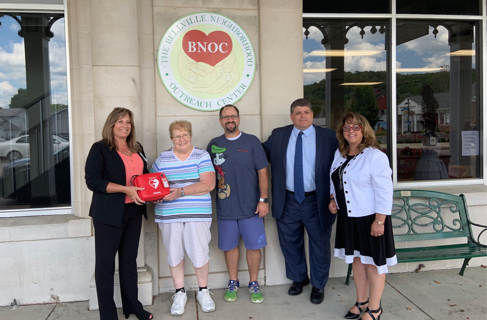 Pictured (left to right): Kim Winkle (Avita Hospital), Carol Hoeflich (BNOC Food Pantry Manager), Matt Merendino (BNOC President), Chuck Cangelosi (Avita Foundation Director), and Teri Brenkus (Bellville Mayor)