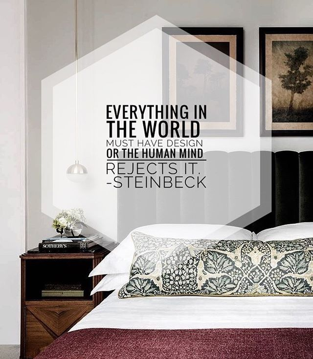a little inspiration from my book today... so true! . . #steinbeck #classic #bedroominspo #velvetheadboard #pendants