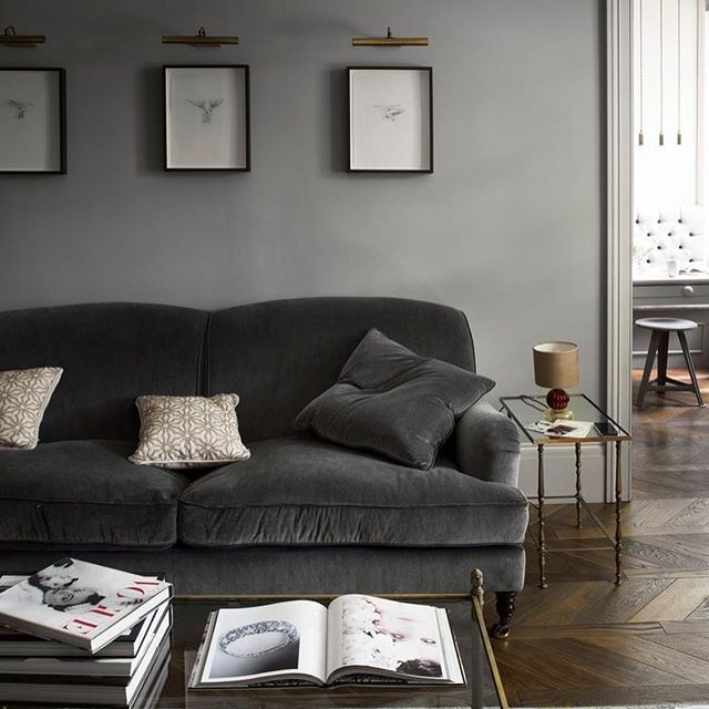 three reasons why I love a #darksofa - 1) immediately adds #elegance to a space 2) can be easily paired with lots of light #neutralcolors to become a #statementpiece or dark neutral colors for a cool and #cozyspace 3) stays clean 😁 #intentionaldesign #designwithpurpose