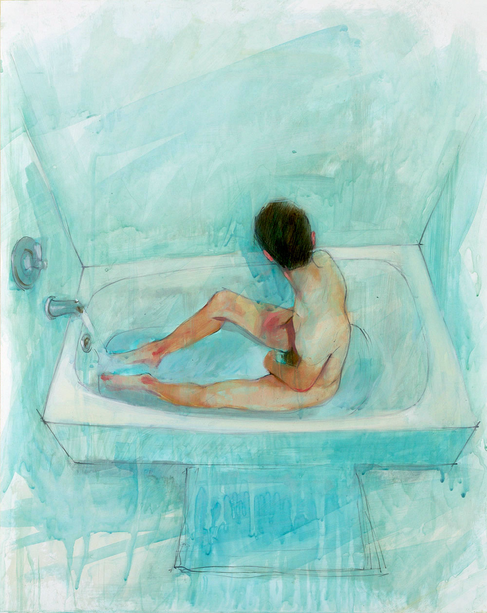 Bath Study No. 1   20 x 16 inches  oil on TerraSkin - SOLD