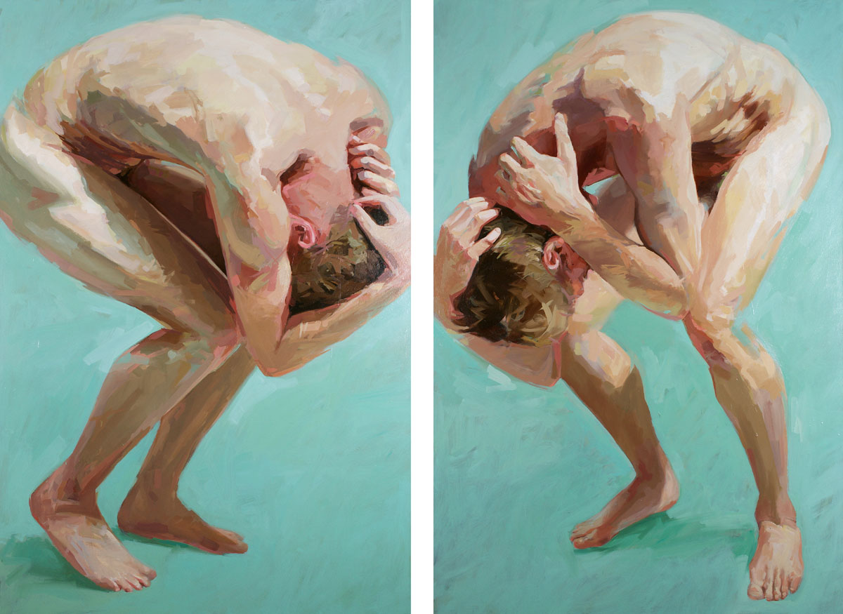Two Men Meet (after Klee)   diptych, 72 x 100 inches  oil on canvas