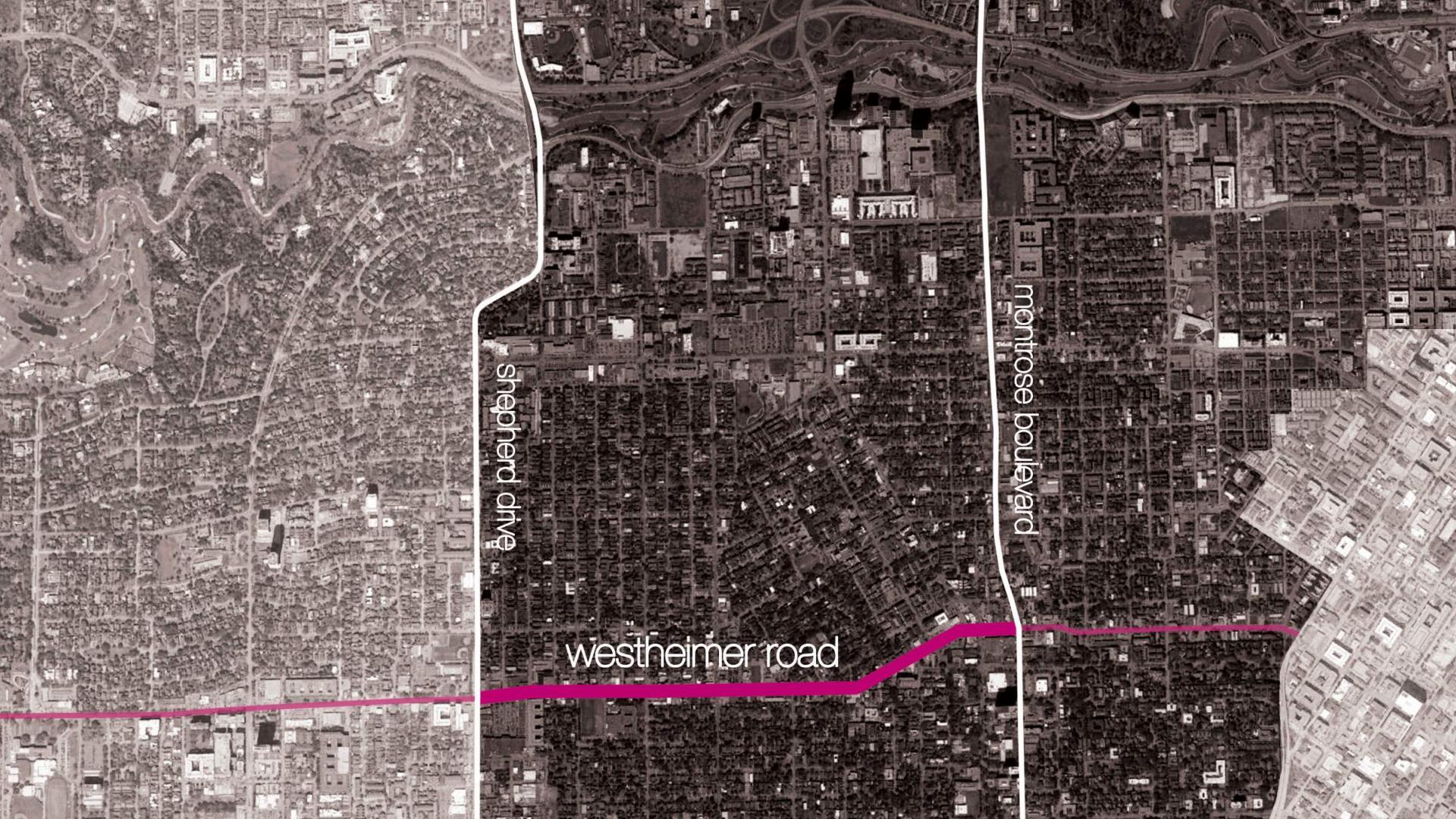 Scope of design along Westheimer Rd. between Shepherd Drive & Montrose Blvd.
