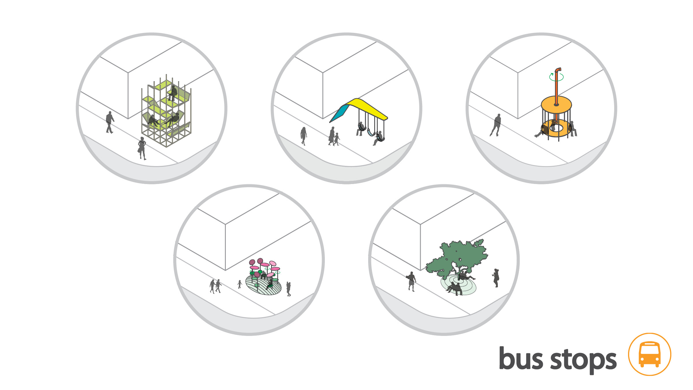 various bus stop designs to encourage the use of public transit & to reinforce the eclectic culture of lower westheimer