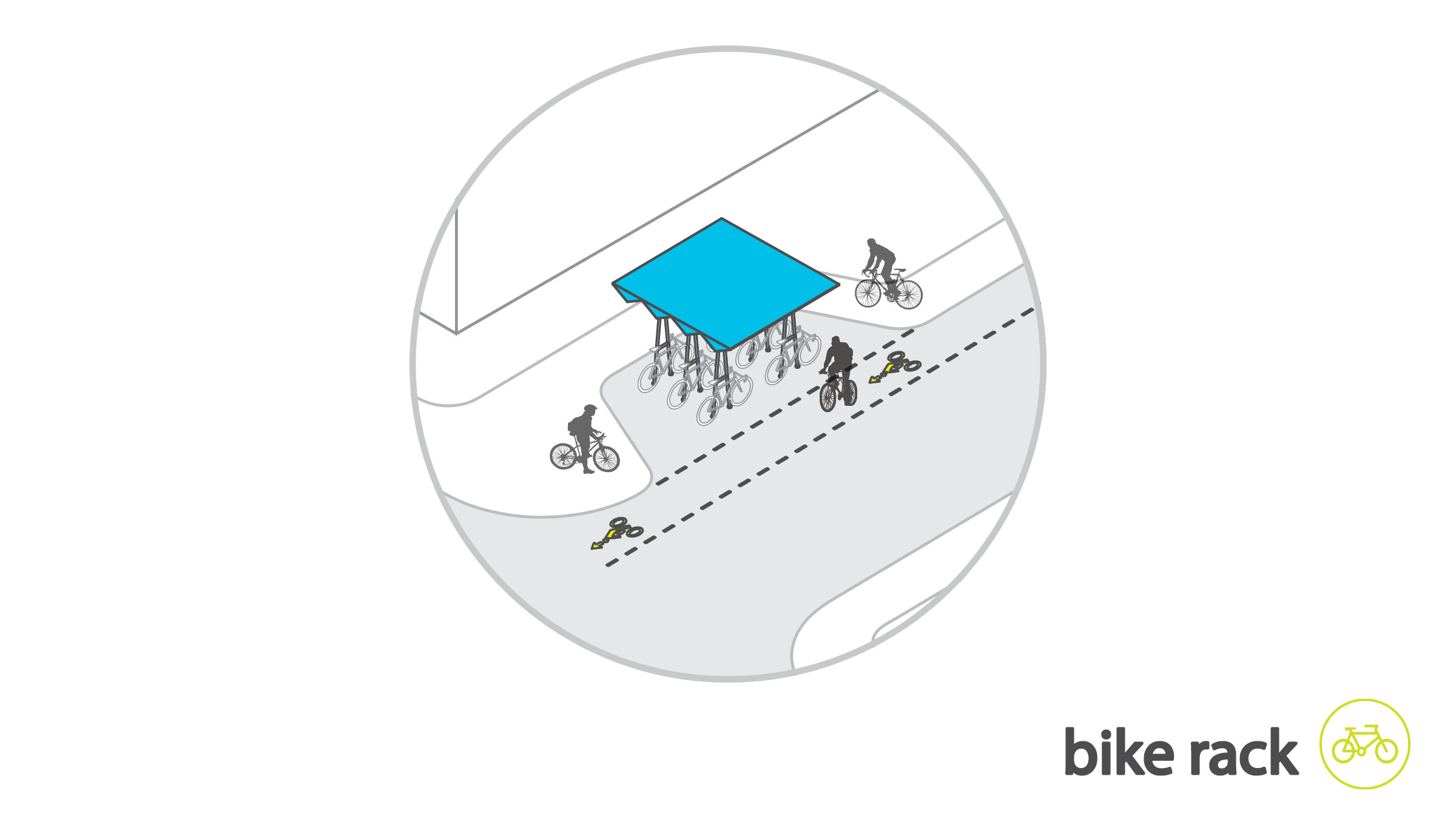 bike lanes run parallel with roads that cross westheimer with additional Hosuton B cycle stops coupled with traditional bicycle racks
