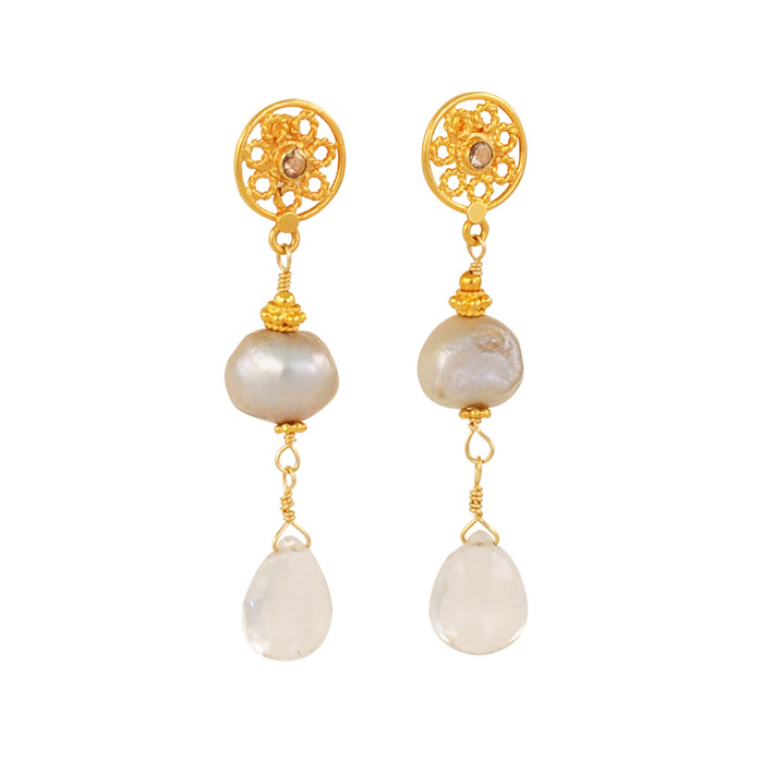 Silver Pearls with Pear Briolette