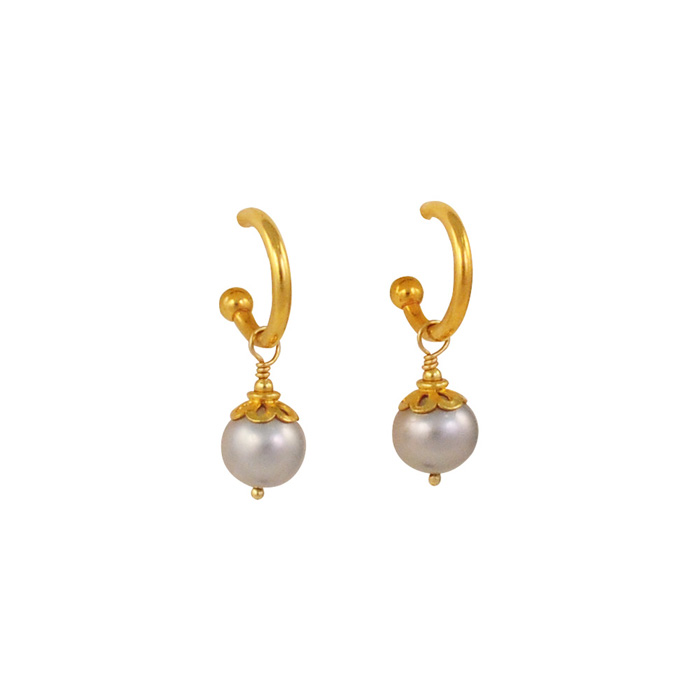 Gray Pearls with 18k Gold