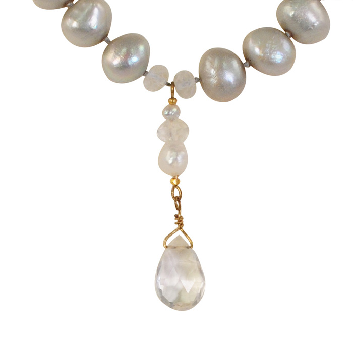 Silver Pearls with Moonstone Drop