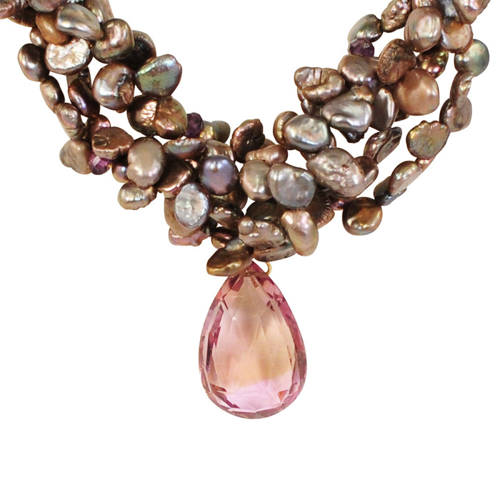 Multi-Rope Copper Pearl Necklace with Ametrine