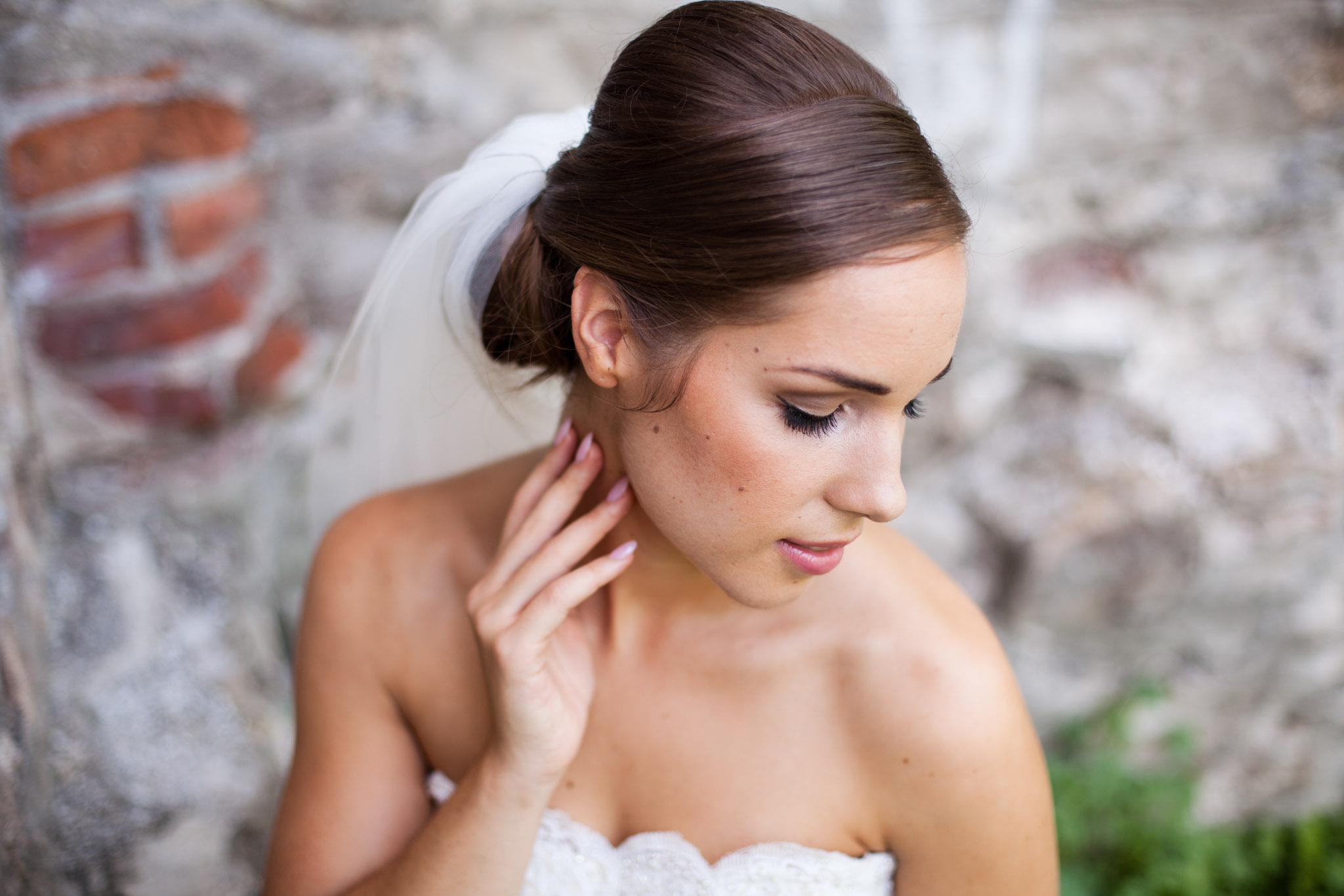 bride wedding portrait with old stone wall.jpg