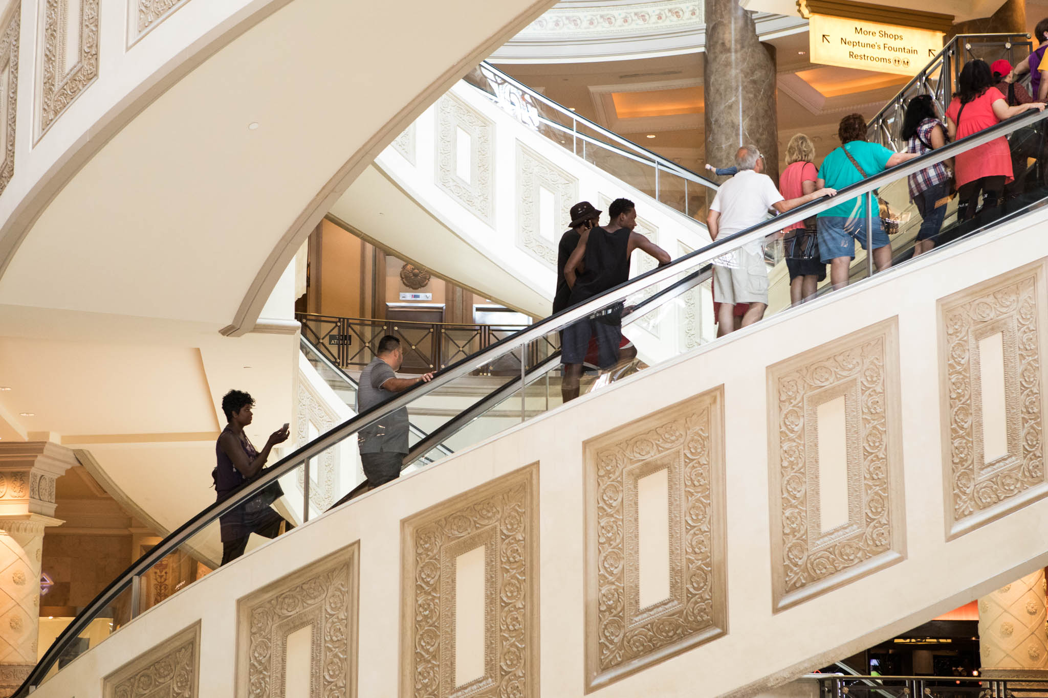 large fancy escalator in The Forum center at Caesars Palace.jpg