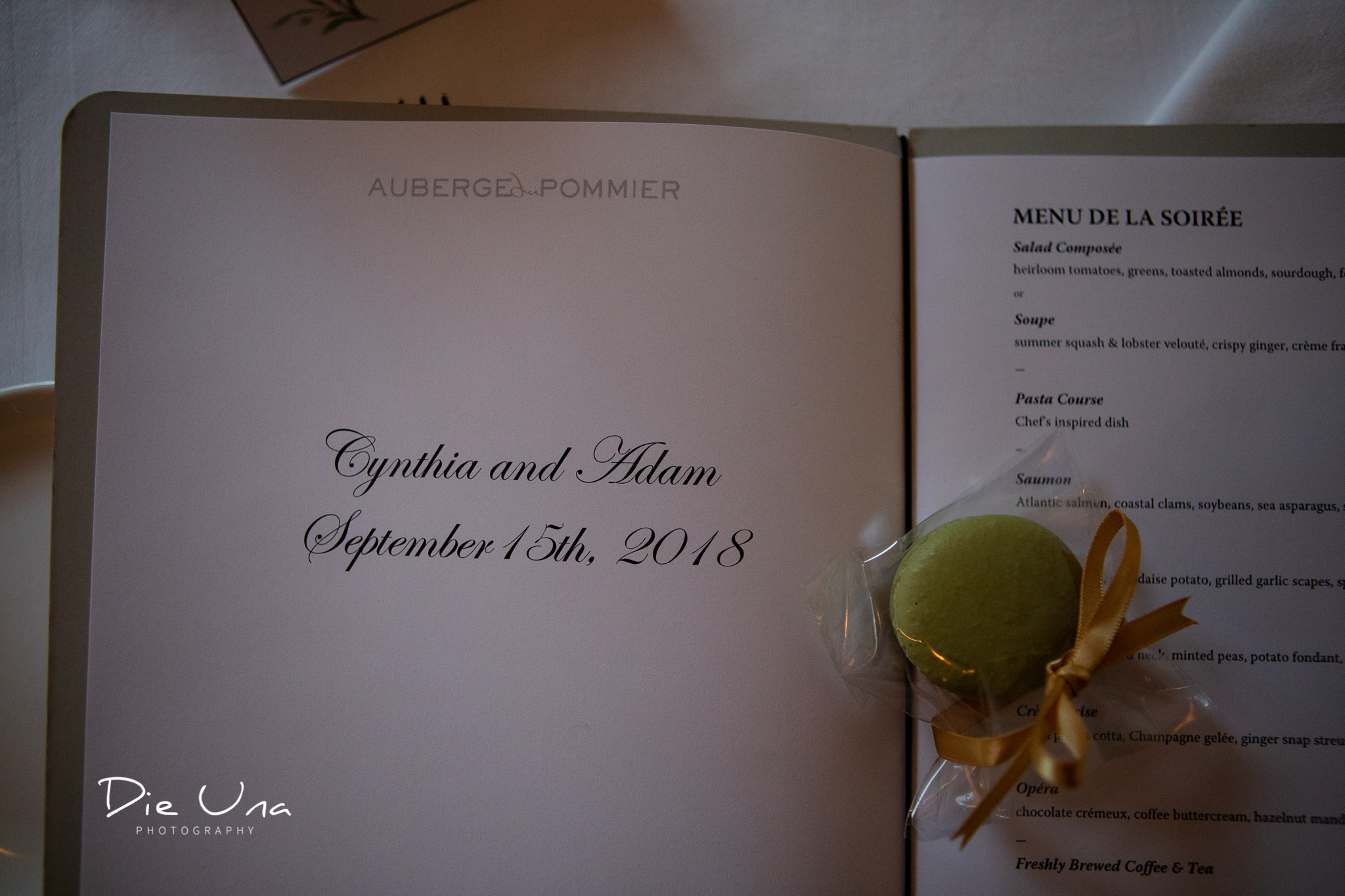 beautiful wedding dinner menu at Auberge du Pommier.jpg