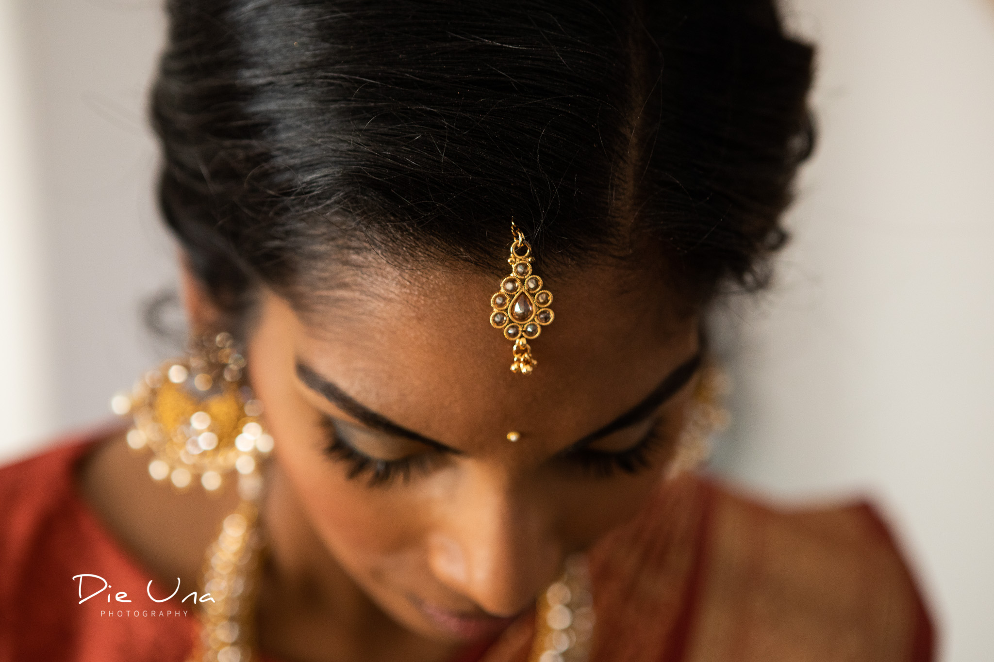 detail shot of bride wearing a bindi for Sri Lankan wedding in Toronto.jpg