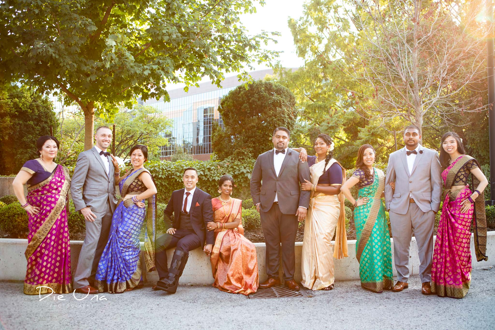 the wedding party wearing colorful sarees at the Auberge du Pommier in Toronto.jpg
