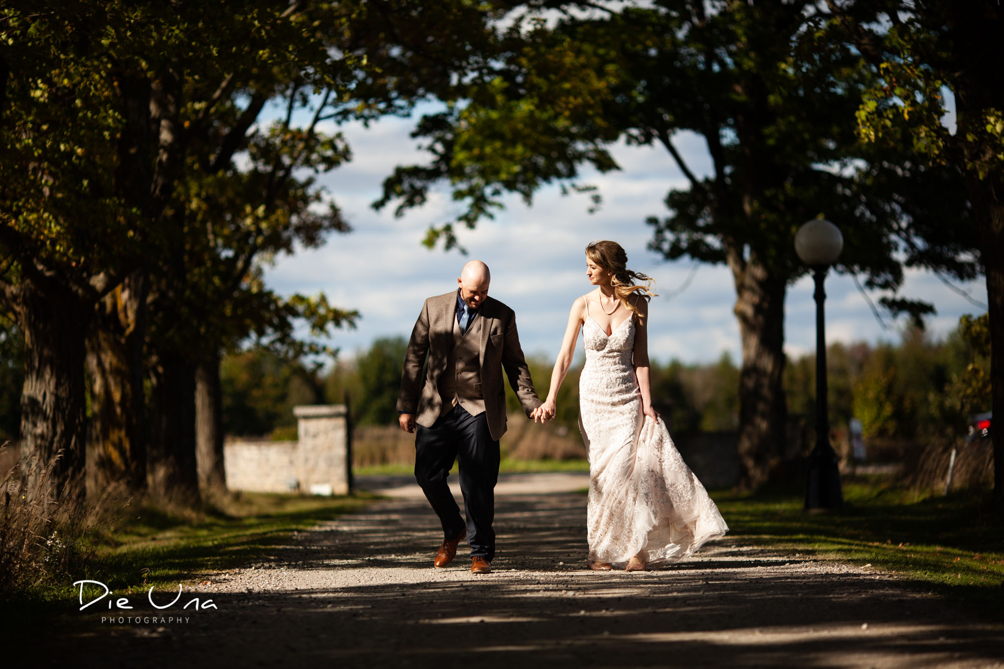 bride and groom hold hands and walk down tree lined driveway.jpg