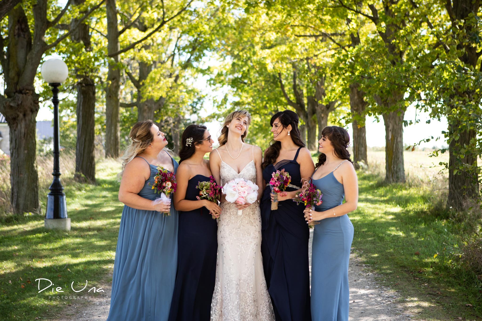 bride with bridesmaids wearing shades of blue dresses with lamp post in the background.jpg