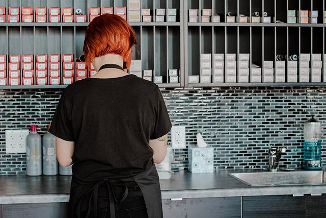 Teeli working her magic in formulating the perfect red. We have some open appointments today. Text 480.786.9778 for an appointment!