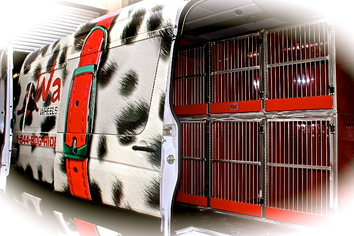 Here is the safe and comfortable interior of the Waggin' Wheels Express van.