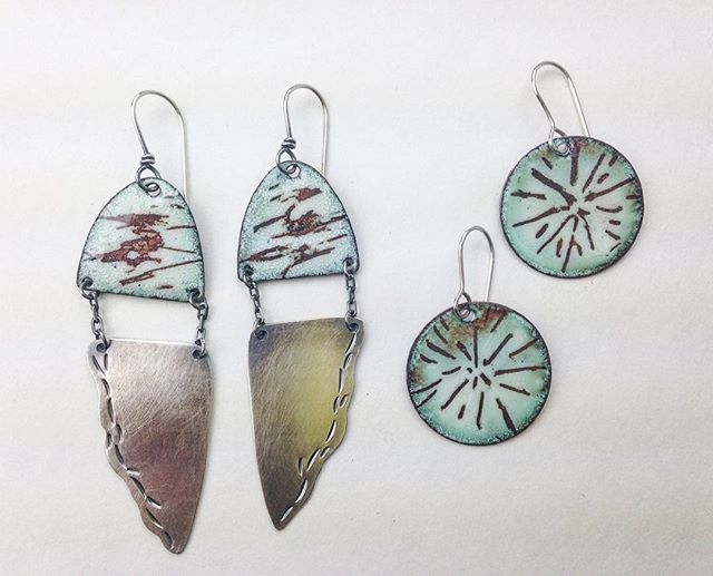 A new direction for me- I am loving these soft hues. . . . #geometricearrings #creativelifehappylife #geometricearrings #handmadejewelry #silver925 #bohostyle #bohemian #fashiondesigner #statementearring #calistyle #enamelwork #colorpop #contemporaryjewelry #contemplativephotography #createmakeshare