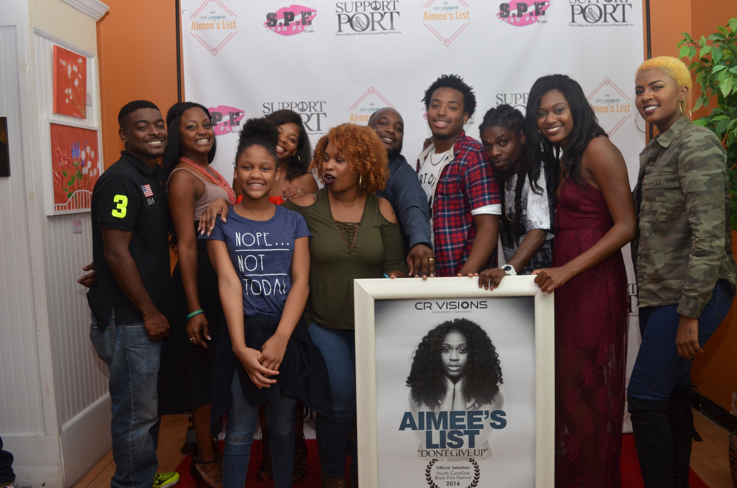 The Cast & Crew of Aimee's List Having a Good Time During Support The Port's Supportflix And Chill Red Carpet Premiere for Aimee's Lis
