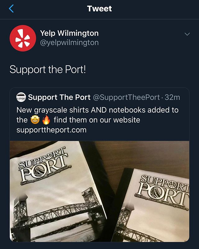 Shout Out to @yelpwilmington for always showing us love and supporting us via twitter! Be sure you follow us too 🐥: SupportTheePort