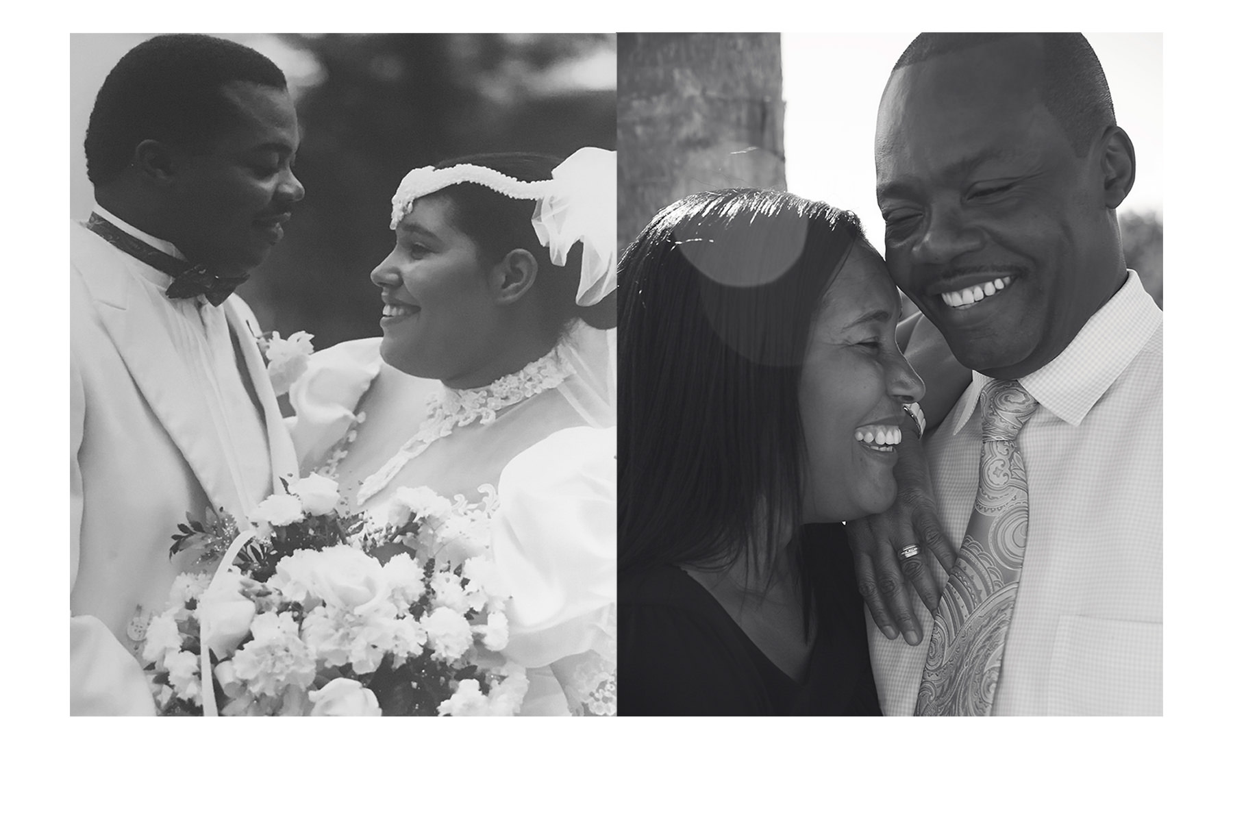Wedding Day on the left. 25 years later on the right