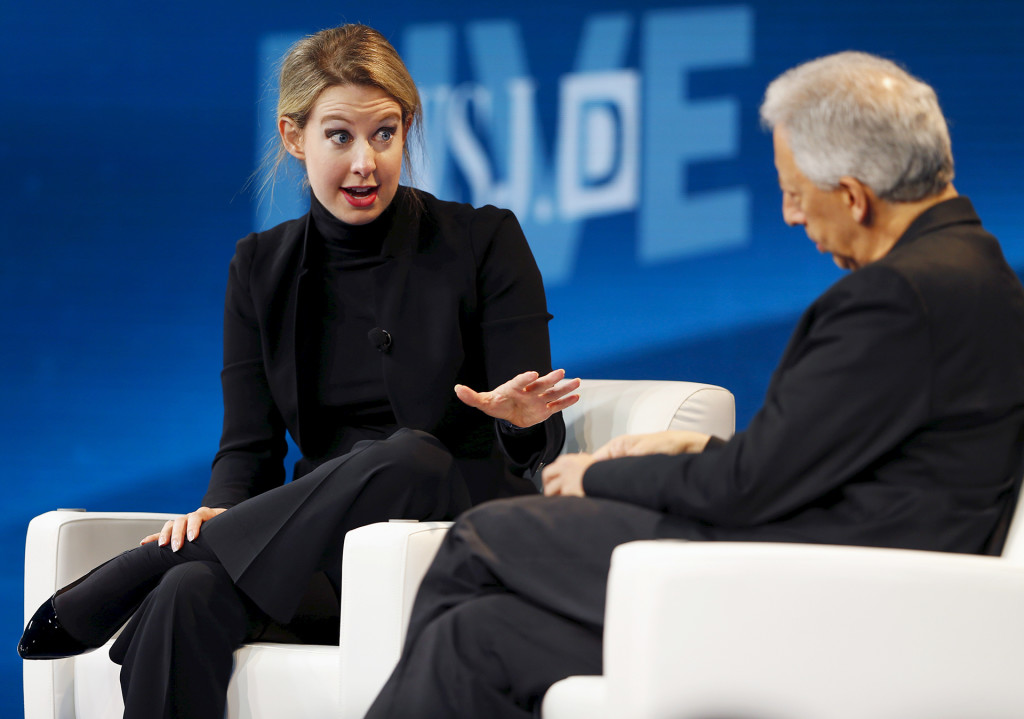 Theranos founder and CEO Elizabeth Holmes speaks at the Wall Street Journal Digital Live (WSJDLive) conference in Laguna Beach, California, on October 21, 2015. Mike Blake/Reuters/Corbis