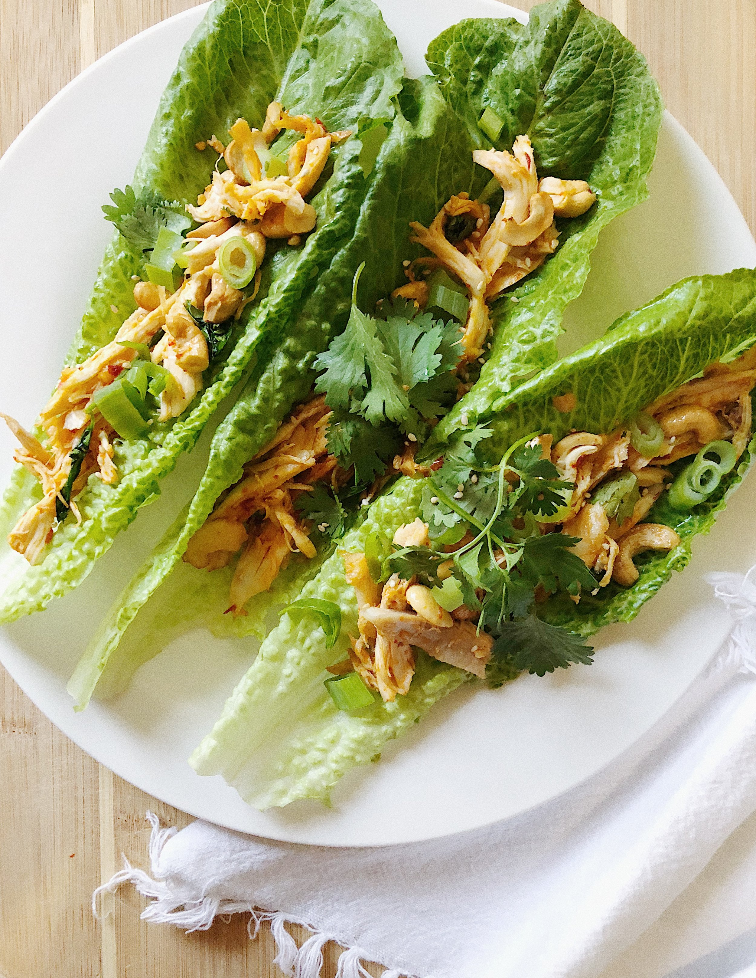thai chicken lettuce boats