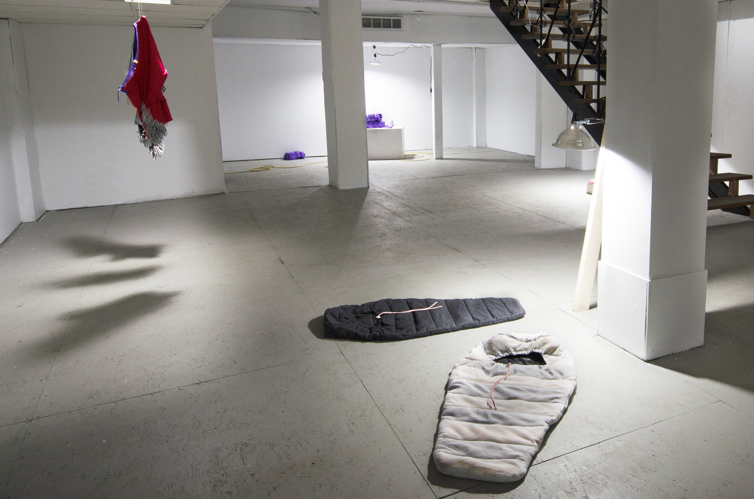Ibid.  installation view, featuring work by Benjamin Spalding, Claire Paquet and Hilarey Cowan (left to right).
