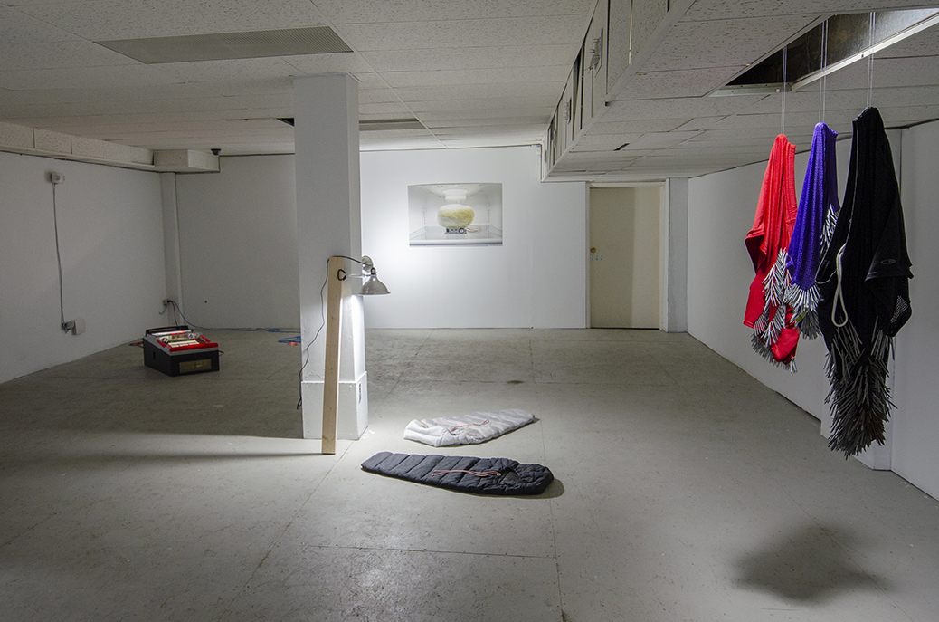 Ibid. , installation view, featuring Simon Fuh, Claire Paquet, Kenneth Jeffrey Kwan Kit Lau, and Benjamin Spalding (left to right).