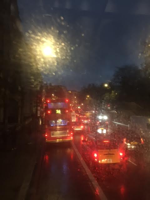 On the road on top of the double-decker, London 2016