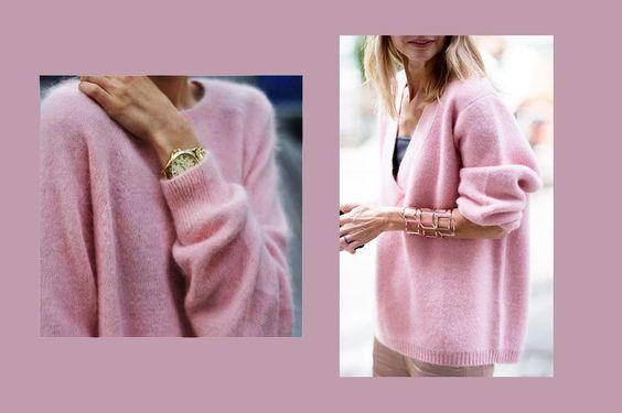 1) Pink cashmere jumper