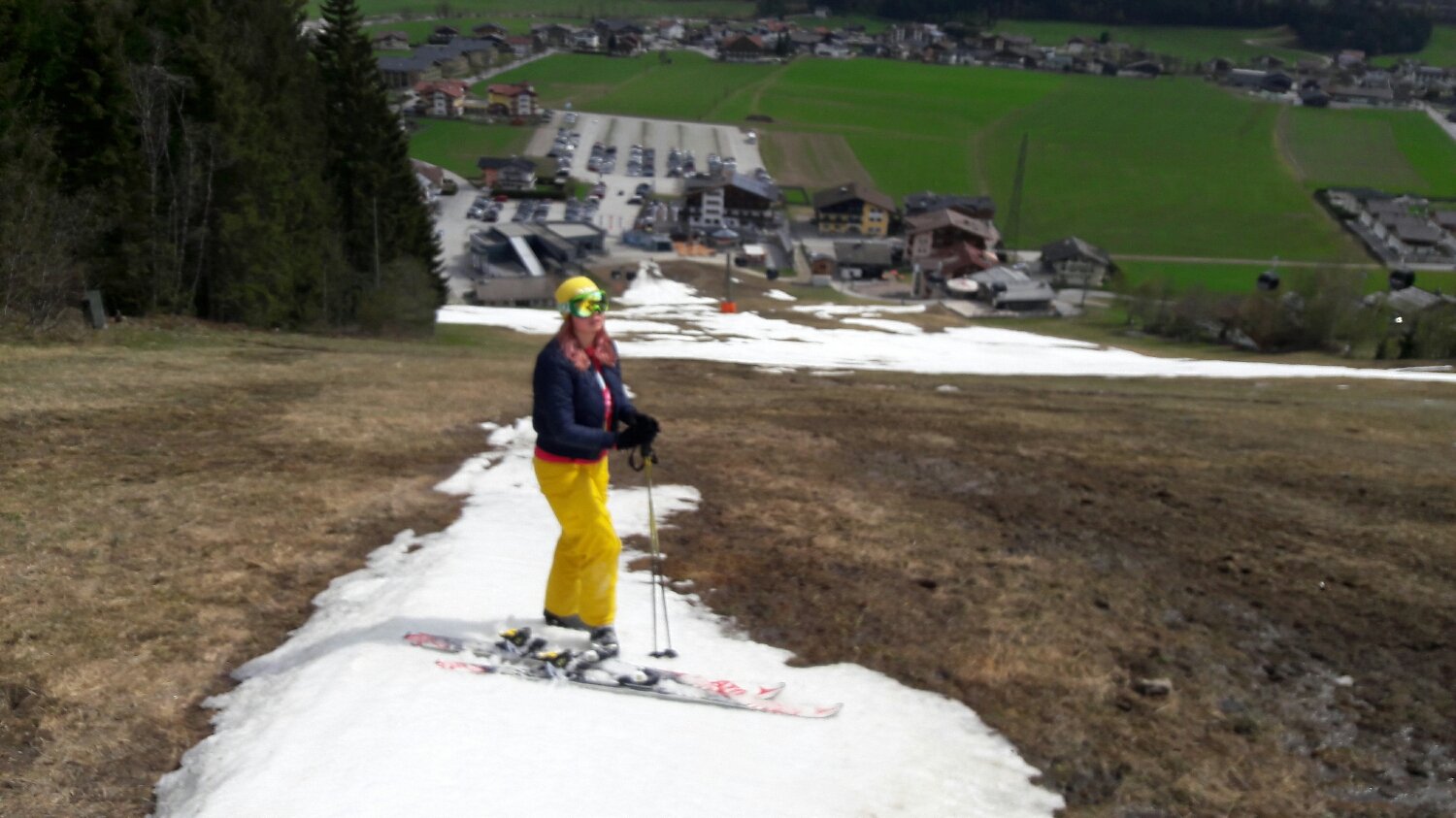 Blurry photo from my mobile. Gaby close to our house. Flachau 2017