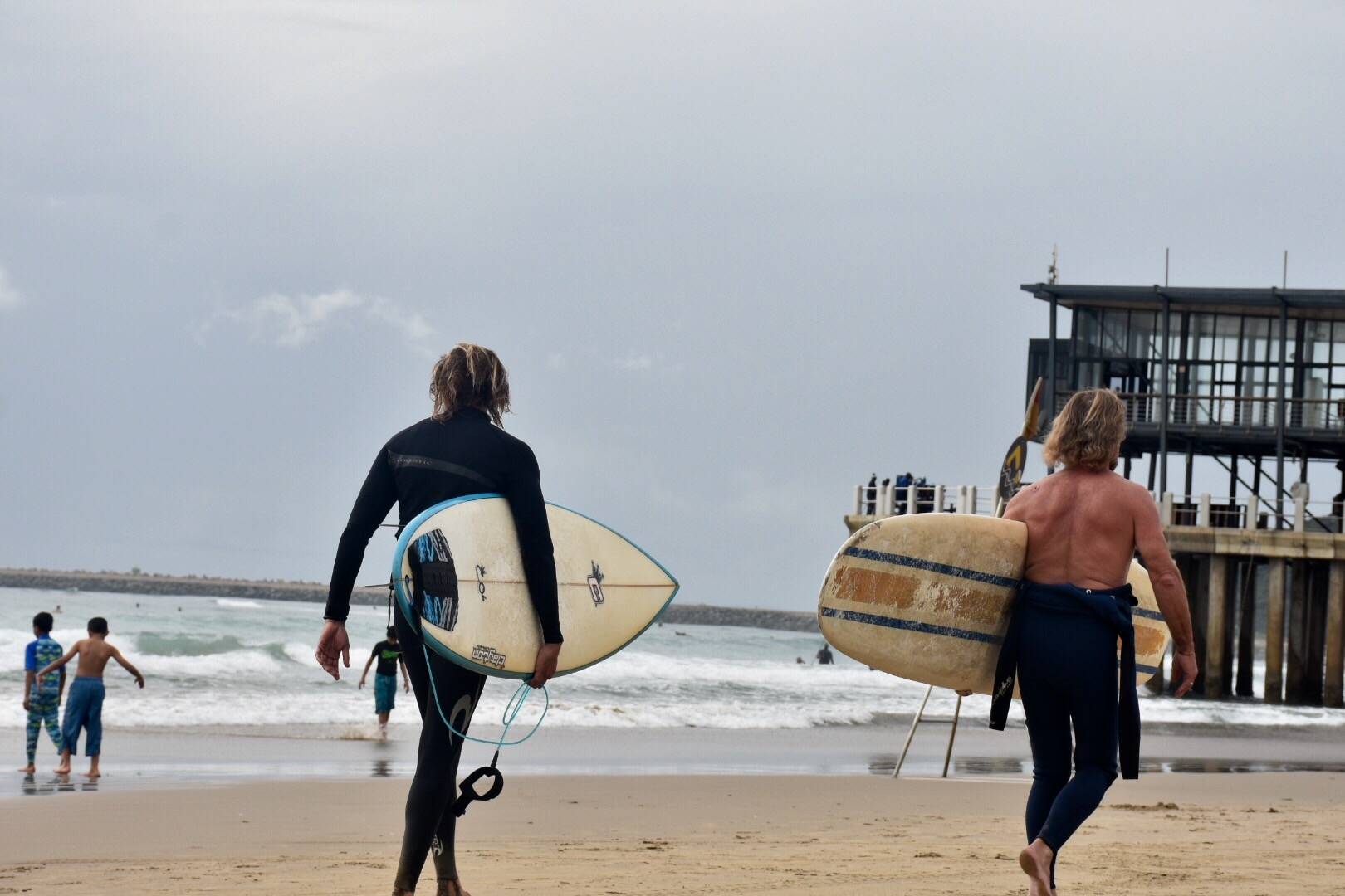Surfing dudes in Durban, South Africa, September 2017