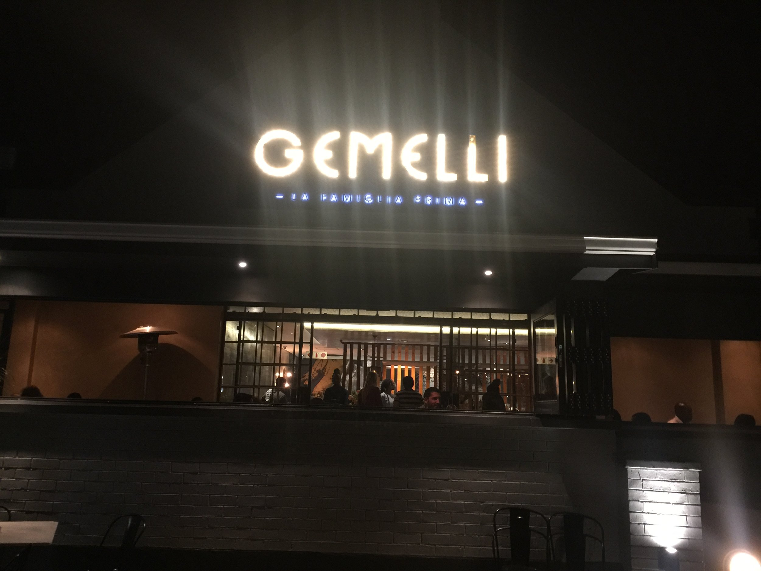 Dinner at Gemellis, Johannesburg, South Africa, September 2017