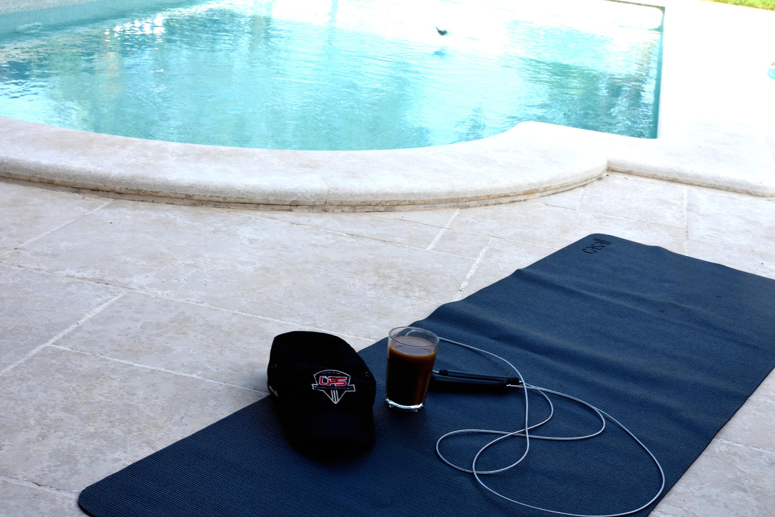 Yoga by the pool, Porec Croatia July 2017