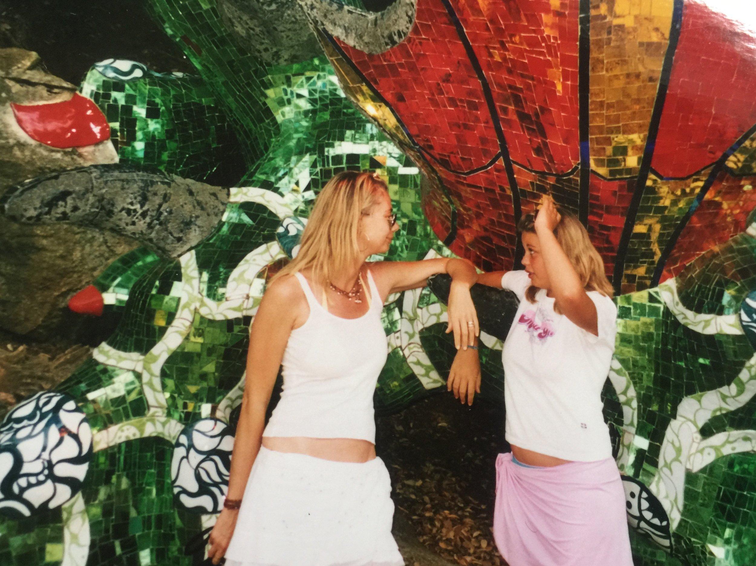 Me and Gaby at the Niki de Saint Phalles Tarot Garden, Italy 2002