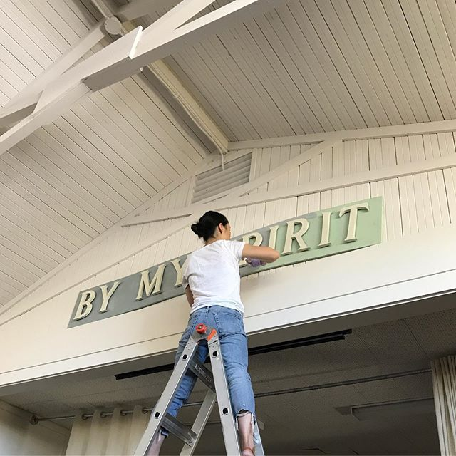 "SEPT 14, 2019 || Church Building Day. ""Can we paint the fellowship hall and install new lights?"" UM YES! Grateful that this project was on Jen's heart and that the youth were fully willing to help out. Making our church a home, one project at a time."